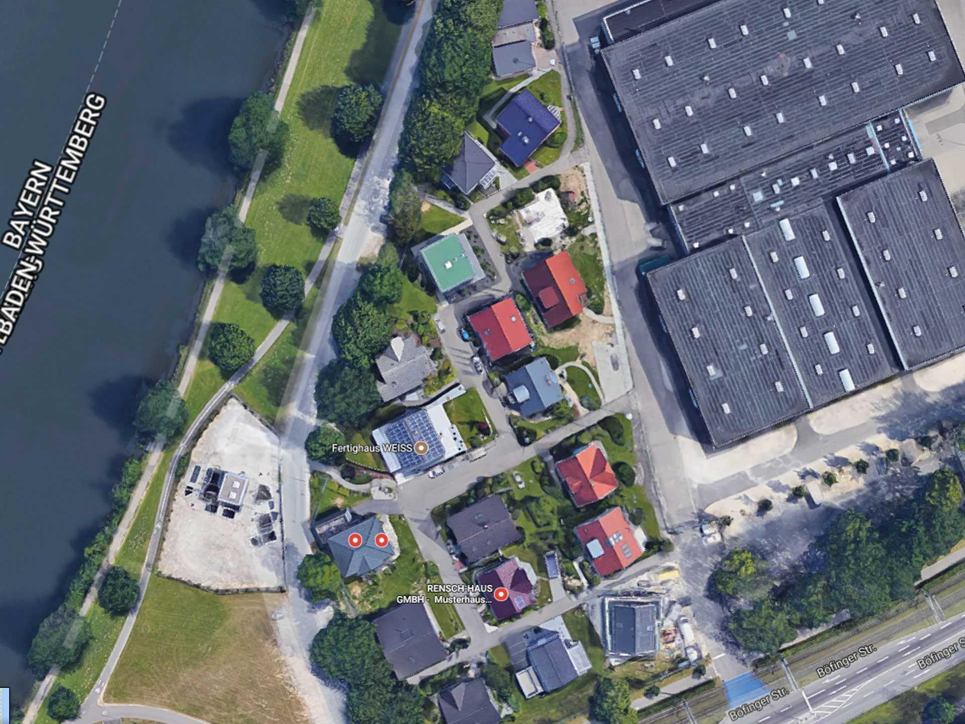 Luftansicht Hausbau Center Ulm